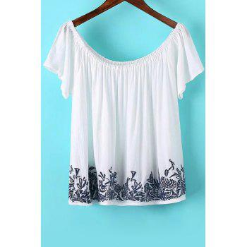 Stylish Short Sleeve Off The Shoulder Embroidered Women's T-Shirt