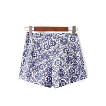 Stylish High Waist Ethnic Style Printed Women's Shorts - BLUE S