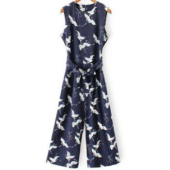 Trendy Round Collar Sleeveless Printed Belted Jumpsuit For Women