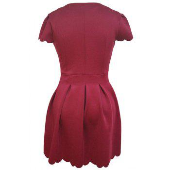 Graceful V-Neck Short Sleeve Solid Color Scalloped Women's Dress - RED S