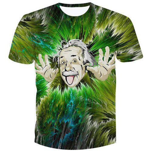 Fashion Einstein Printed Pullover Character T-Shirt - GREEN S