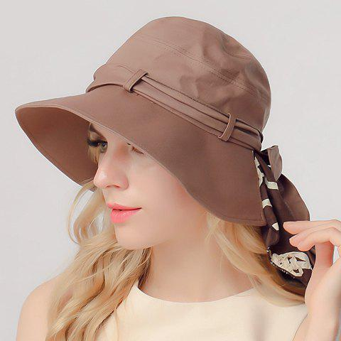 Chic Lace-Up Embellished Sun-Resistant Folding Women's Bucket Hat - COFFEE