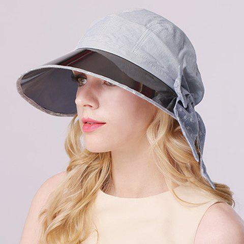Chic Bow and Smooth Board Embellished Sun-Resistant Women's Sun Hat - LIGHT BLUE