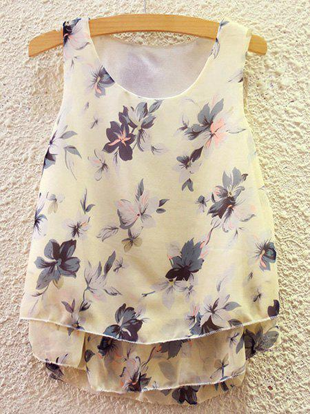 Sweet Women's Scoop Neck Flower Print Tank Top - COLORMIX ONE SIZE(FIT SIZE XS TO M)