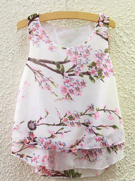 Sweet Women's Scoop Neck Peach Blossom Print Tank Top - WHITE ONE SIZE(FIT SIZE XS TO M)