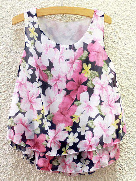 Sweet Women's Scoop Neck Flower Print Chiffon Tank Top - COLORMIX ONE SIZE(FIT SIZE XS TO M)