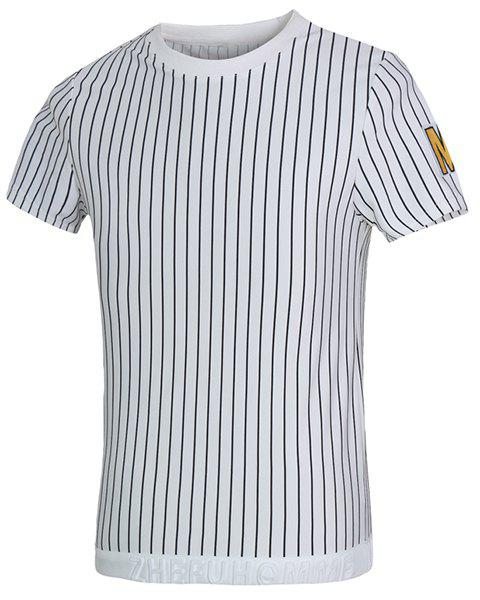 Vogue Round Neck Letters Applique Short Sleeves Men's Fitted Striped T-Shirt - WHITE M