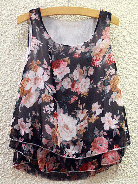 Sweet Women's Scoop Neck Floral Print Chiffon Tank Top - COLORMIX ONE SIZE(FIT SIZE XS TO M)