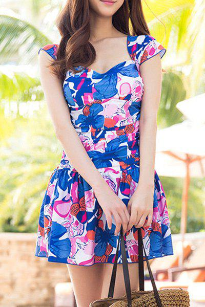 Sweet Square Neck Cap Sleeves Ruffled Design One-Piece Women's Swimsuit - BLUE 2XL