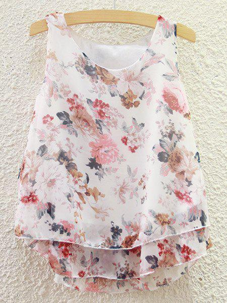 Sweet Women's Scoop Neck Tiny Floral Print Chiffon Tank Top - COLORMIX ONE SIZE(FIT SIZE XS TO M)