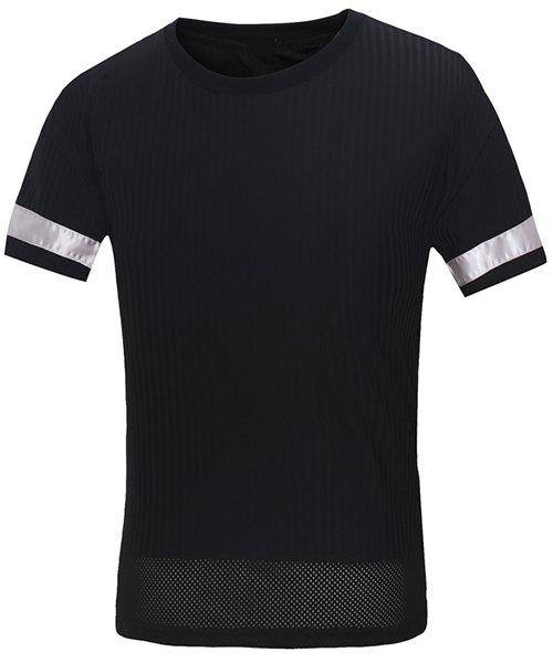 Vogue Round Neck Letters Embroidered Spliced Design Men's Short Sleeves T-Shirt - BLACK M