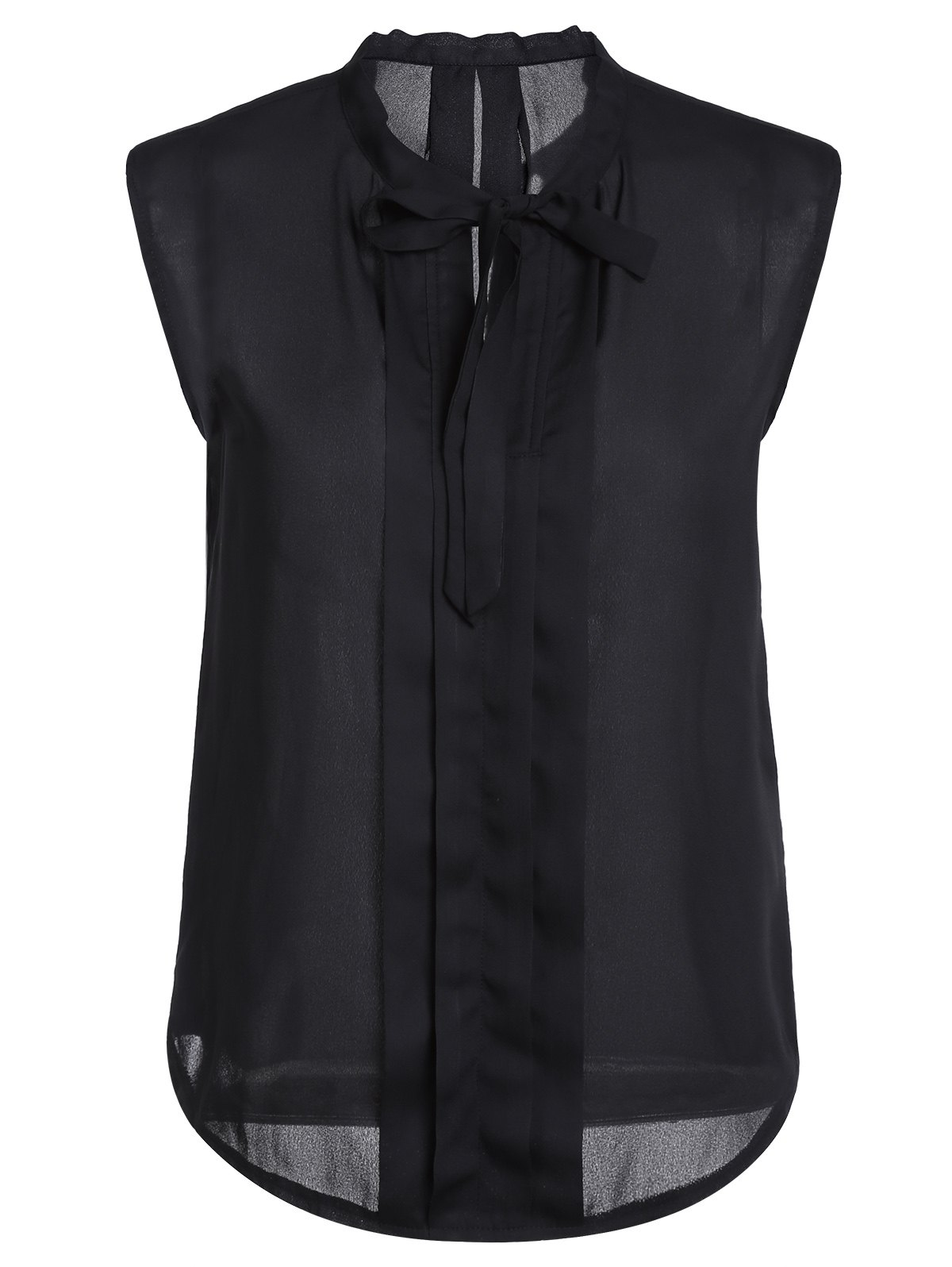 Stylish Women's Bow Tie Collar Solid Color Sleeveless Blouse - BLACK L