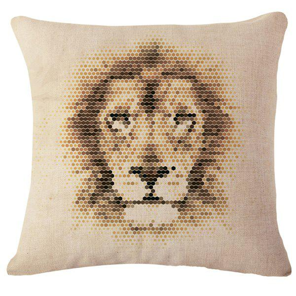 Stylish Mosaic Animals Lion Pattern Square Shape Flax Pillowcase (Without Pillow Inner)