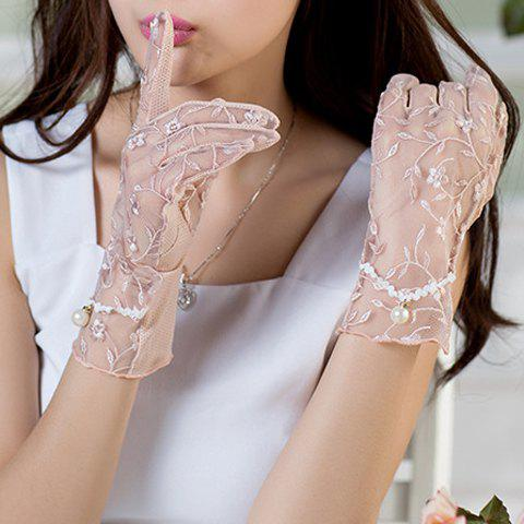Pair of Chic Flower Embroidery Faux Pearl Pendant See Through Women's Lace Gloves - APRICOT