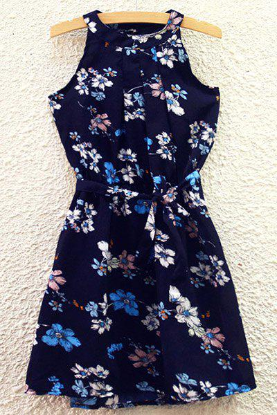 Refreshing Women's Round Collar Lily Print Belted Summer Dress - CADETBLUE ONE SIZE(FIT SIZE XS TO M)