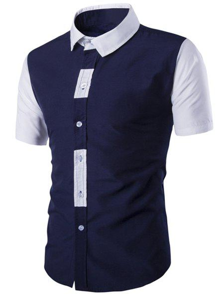 Special Button Fly Color Spliced Turn-down Collar Short Sleeves Men's Shirt - CADETBLUE 2XL