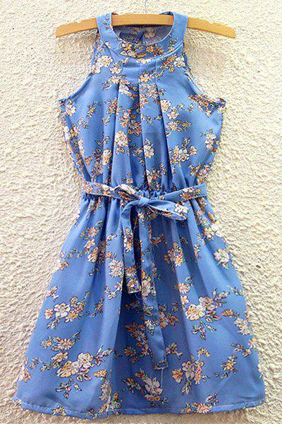 Refreshing Women's Round Collar Floral Print Belted Summer Dress - LIGHT BLUE ONE SIZE(FIT SIZE XS TO M)