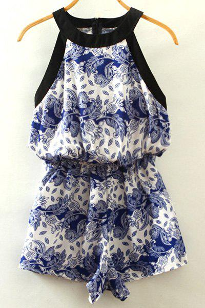 Vintage Women's Round Neck Floral Print Sleeveless Romper - WHITE ONE SIZE(FIT SIZE XS TO M)