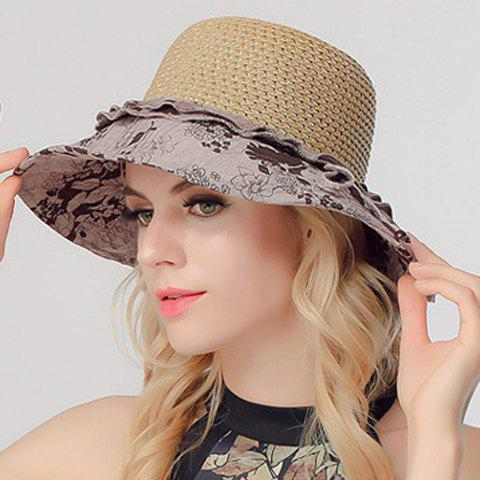 Chic Handpainted Flower Pattern Cloth Splicing Sun-Resistant Women's Straw Hat - GRAY