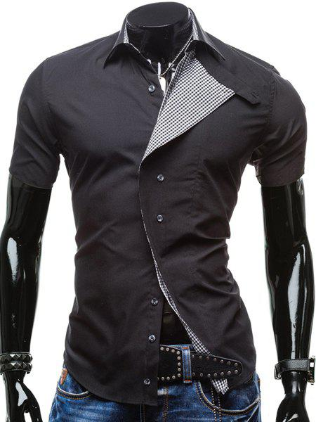 Checked Button Fly Turn-down Collar Short Sleeves Men's Slimming Shirt