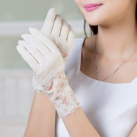 Pair of Chic Lace Embellished Tiny Floral Pattern Women's Gloves - WHITE