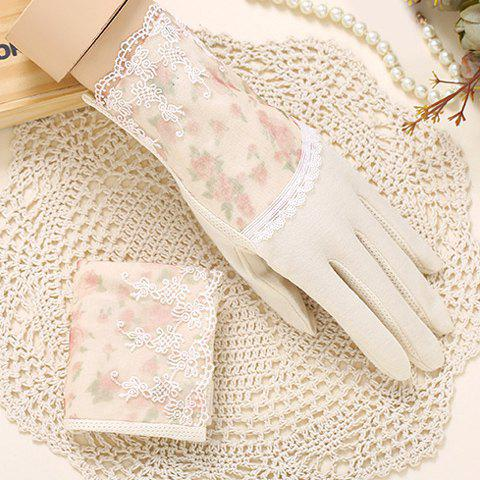 Pair of Chic Lace Embellished Tiny Floral Pattern Women's Gloves - BEIGE