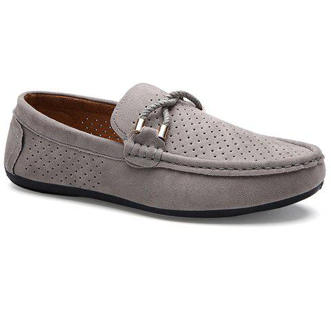 Concise Suede and Breathable Design Men's Casual Shoes - GRAY 40