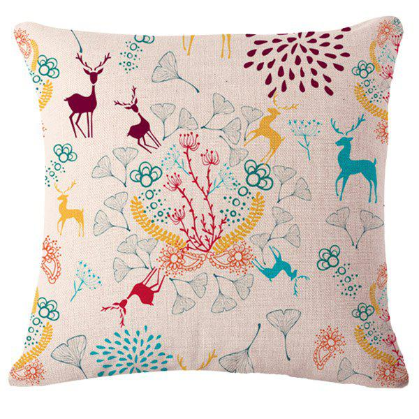 Stylish Deer and Plants Pattern Square Shape Flax Pillowcase (Without Pillow Inner) - COLORMIX