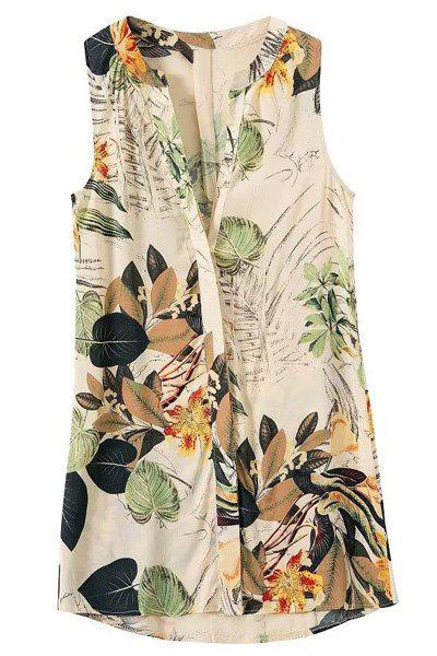 Trendy Sleeveless V-NeckPrinted Women's Dress - APRICOT S