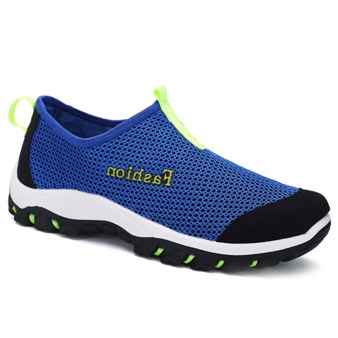 Concise Letter and Splicing Design Men's Casual Shoes - BLUE 39