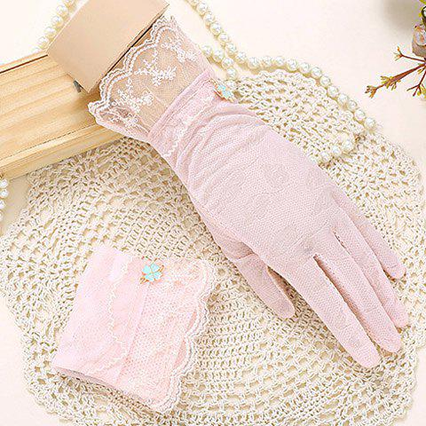 Pair of Chic Embroidery Lace Embellished Touch Screen Gloves For Women - PINK