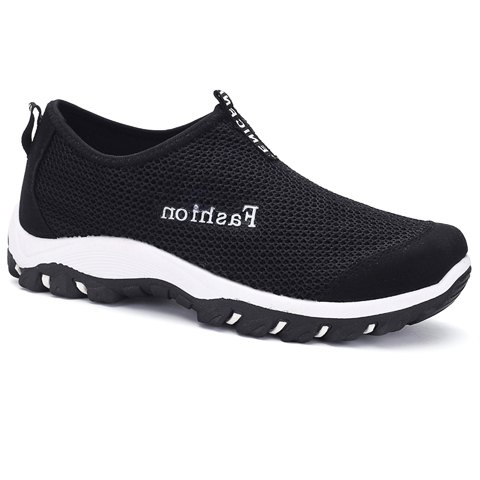 Simple Suede and Letter Design Men's Casual Shoes - BLACK 40