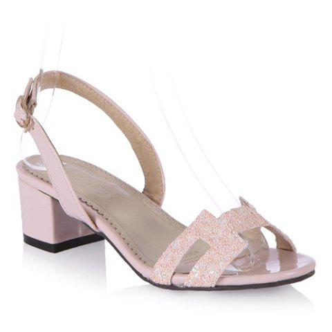 Fashion Chunky Heel and Sequined Design Women's Sandals - 38 SHALLOW PINK