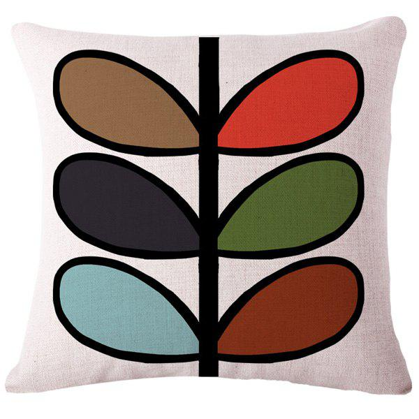 Creative Simple Colorful Leaves Pattern Square Shape Flax Pillowcase (Without Pillow Inner)