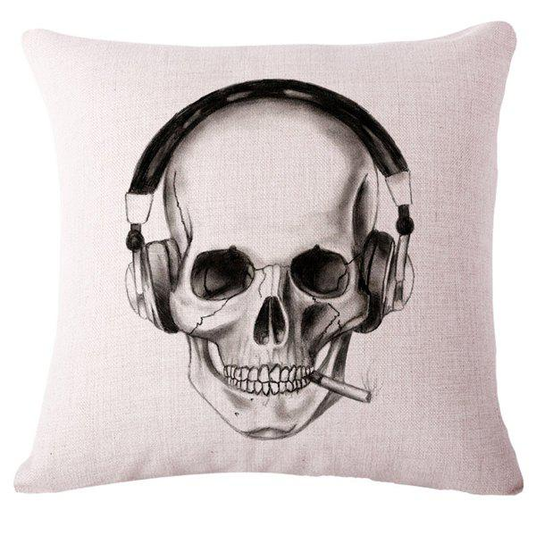 Creative Skull Sketch Pattern Flax Square Shape Pillowcase (Without Pillow Inner) - BLACK