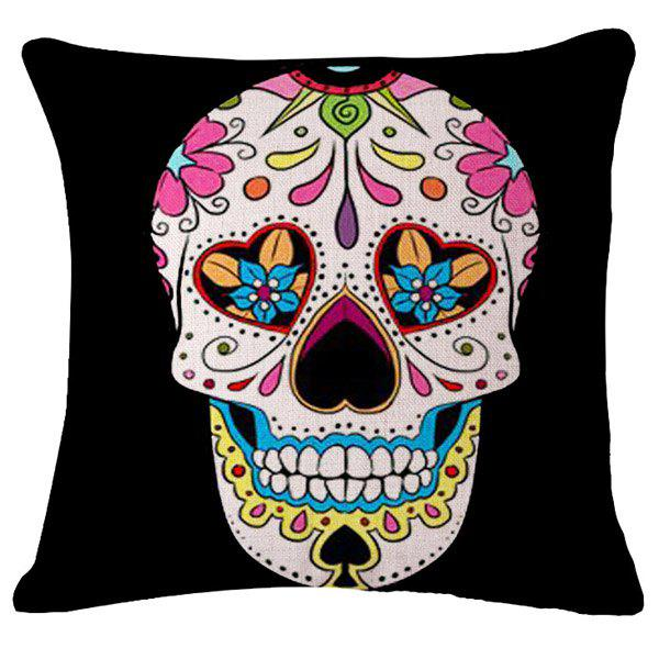 Creative Floral Poker Skull Pattern Flax Square Shape Pillowcase (Without Pillow Inner) - PINK