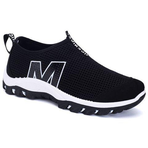 Concise Black Color and Splicing Design Men's Casual Shoes - BLACK 40
