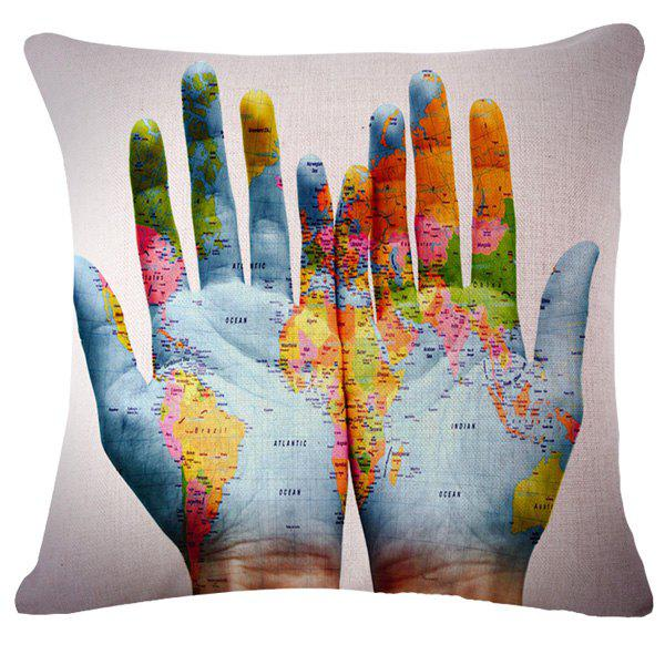Fashion World Map on Hand Pattern Flax Square Shape Pillowcase (Without Pillow Inner)