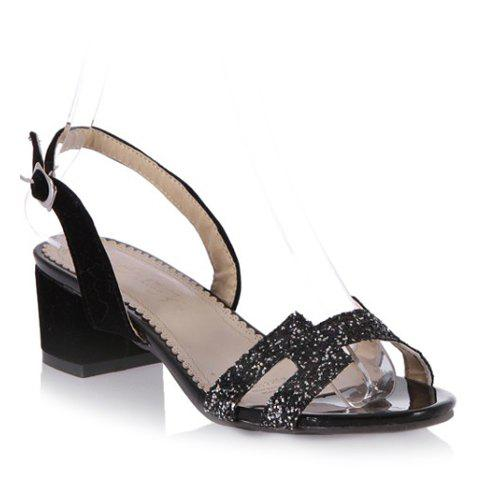 Fashionable Chunky Heel and Sequined Design Women's Sandals - BLACK 38