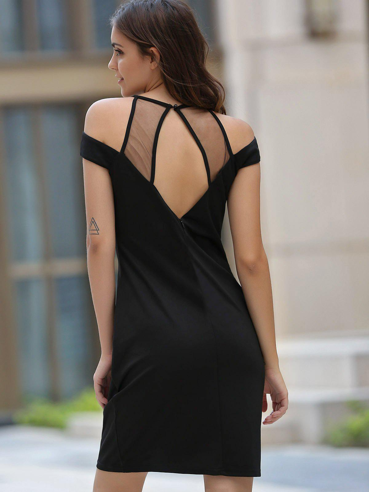 Fashionable Round Neck Voile Splicing Hollow Out Dress For Women - BLACK S