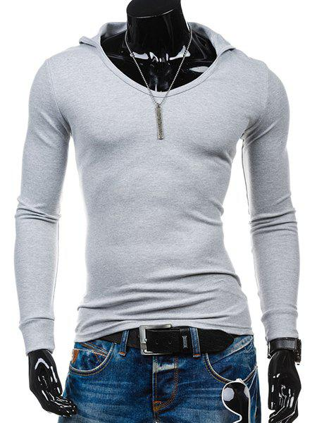 Slimming Hooded Solid Color Long Sleeves Men's T-Shirt