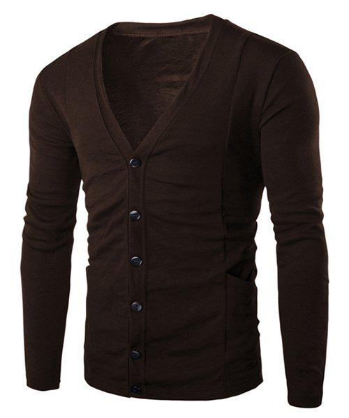 Loose Fit V-Neck Stereo Patch Pocket Solid Color Long Sleeves Men's Cardigan - COFFEE XL