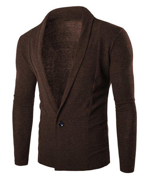 One Button Single-Breasted Solid Color Lapel Long Sleeves Men's Cardigan - COFFEE M