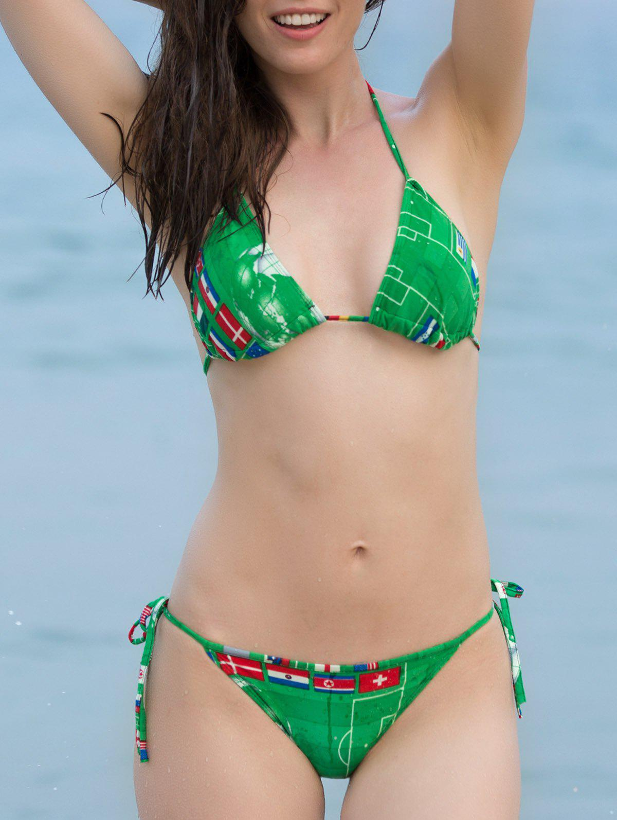 Stylish Halter National Flag Print   Bikini For Women - GREEN ONE SIZE(FIT SIZE XS TO M)
