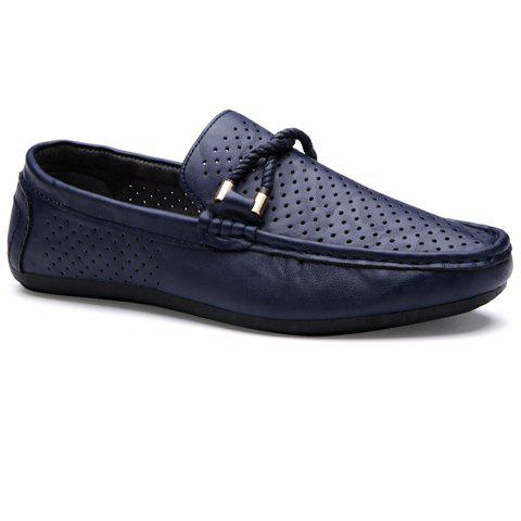Stylish Breathable and PU Leather Design Men's Casual Shoes - DEEP BLUE 40
