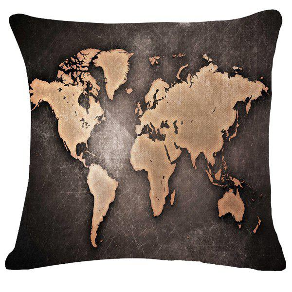 Fashion World Map Pattern Flax Square Shape Pillowcase (Without Pillow Inner) - BLACK GREY