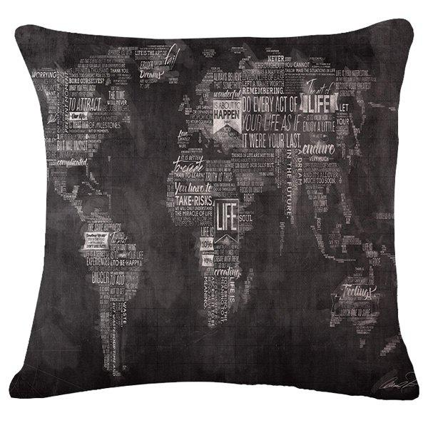 Fashion Letter World Map Pattern Square Shape Flax Pillowcase (Without Pillow Inner) - BLACK GREY