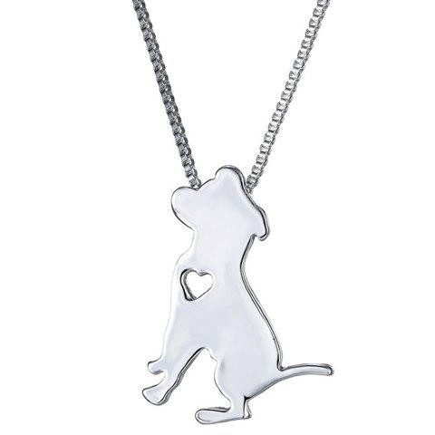Chic Heart Hollow Out Dog Pendant Necklace For Women - SILVER