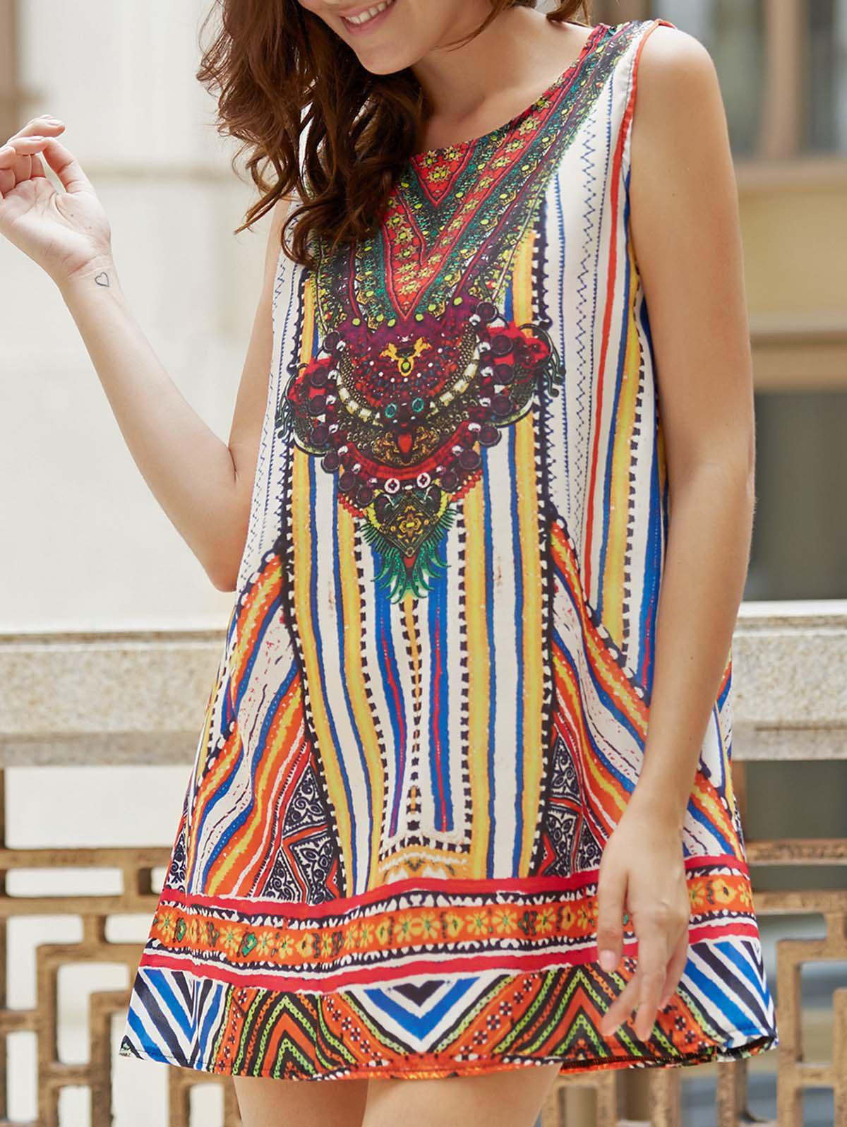 Ethnic Style Sleeveless Colorful Print Tank Top Dress For Women - COLORMIX S