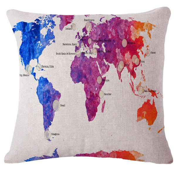 Fashion Gradient Color World Map Pattern Square Shape Flax Pillowcase (Without Pillow Inner) - COLORMIX